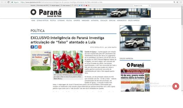 O Paraná MST Lula janeiro